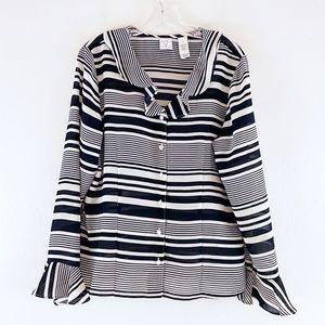 Emma James Blouse Stripes Ruffles Size 12